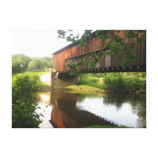 Ohio Covered Bridge and Stream Stretched Canvas Prints
