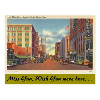 Ohio, Main Street, Akron Postcard