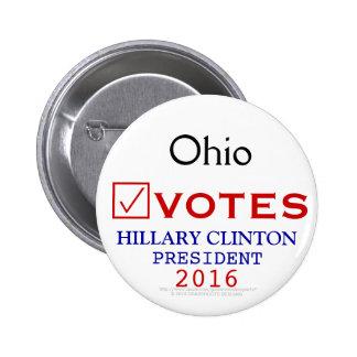 Ohio Votes Hillary Clinton President 2016 Pinback Button