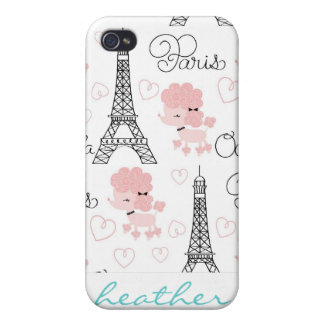 Ohlala Cute Paris Poodle and Eiffel Tower Pattern Case For iPhone 4