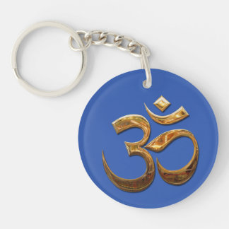 Ohm in gold key ring