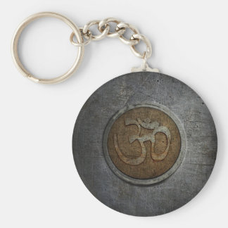 Ohm Sign On Metallic Distressed Background Key Ring