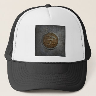 Ohm Sign On Metallic Distressed Background Trucker Hat