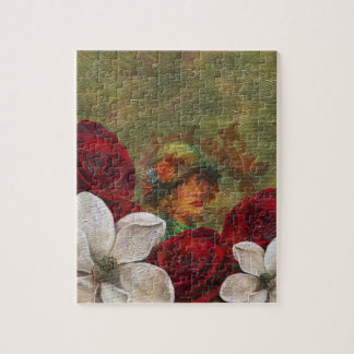 Oil Paint Vintage Woman Flowers Jigsaw Puzzle