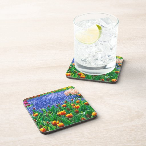 Oil painting of a typical English cottage garden, Drink Coaster