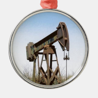 Oil Pumping Rig Silver-Colored Round Decoration