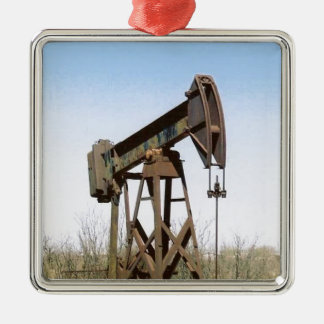 Oil Pumping Rig Silver-Colored Square Decoration