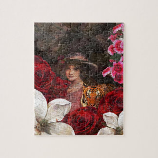 Oil Textured Roses Tiger Woman Jigsaw Puzzle