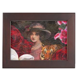 Oil Textured Roses Tiger Woman Keepsake Box