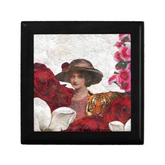 Oil Textured Vintage Woman Tiger Gift Box