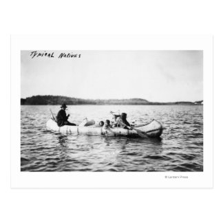 Ojibwa Indians crossing lake in Canoe Photograph Postcard
