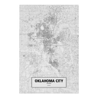 Oklahoma City, Oklahoma (black on white) Poster