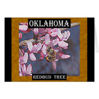 Oklahoma Redbud Tree and Honeybee Card