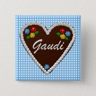 "Oktoberfest Heart ""Gaudi"" 15 Cm Square Badge"