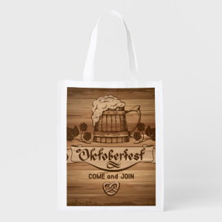 Oktoberfest, vintage poster with wooden reusable grocery bag