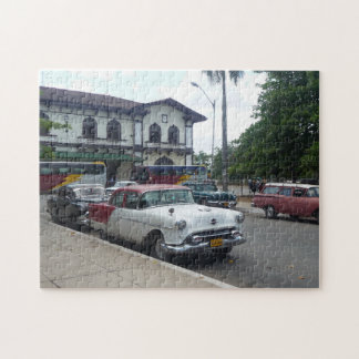 Old american car on Cuba Jigsaw Puzzle