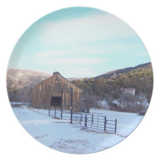 Old Barn Winter Snow Scenic Mountains Colorado Plate