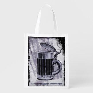 Old Beer Stein Illustration on Grunge Background Reusable Grocery Bag