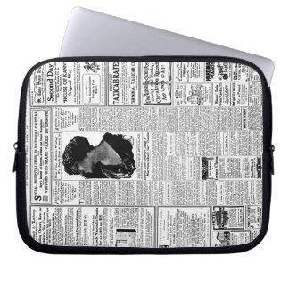 Old black & white newspaper, vintage retro advert laptop sleeve