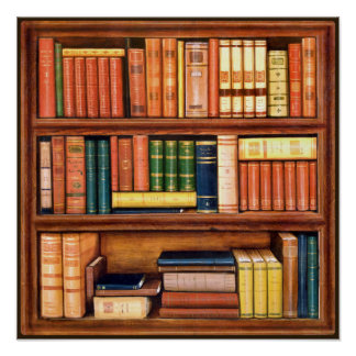 Old Books Vintage Library Bookshelf poster