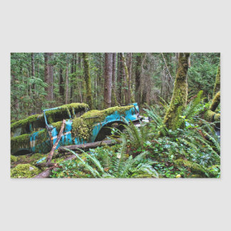 Old Car in the Forest Rectangular Sticker