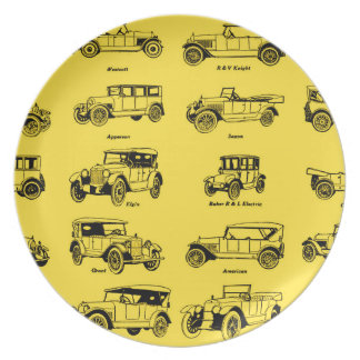 old cars yellow bottom retro red label dinner plate
