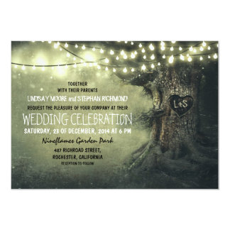 old carved tree twinkle lights rustic wedding 13 cm x 18 cm invitation card