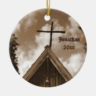 Old Country Church, Christmas Holiday Ornament