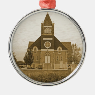 Old Country Church Silver-Colored Round Decoration