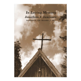 Old Country Church Memorial Service Invitation