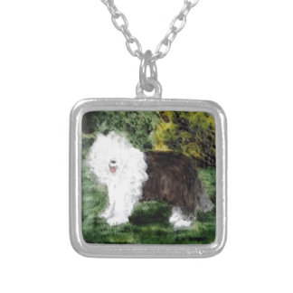 Old English Sheepdog Painting Silver Plated Necklace