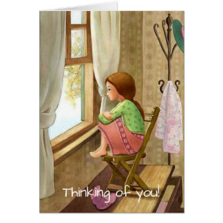Old-fashioned card, home, girl, get well, sympathy card