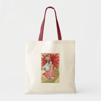 Old Fashioned Christmas Poinsettia Lady Budget Tote Bag
