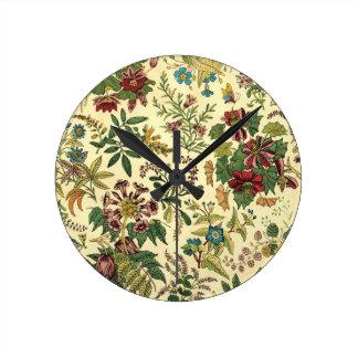 Old Fashioned Floral Abundance Round Clock