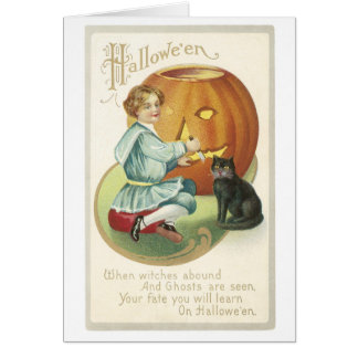 Old Fashioned Halloween Boy Carving Pumpkin Greeting Card