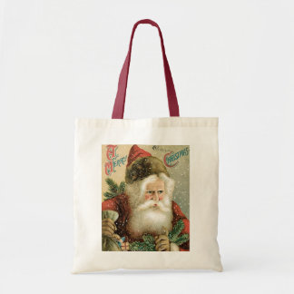 Old Fashioned Merry Christmas Santa Claus Budget Tote Bag