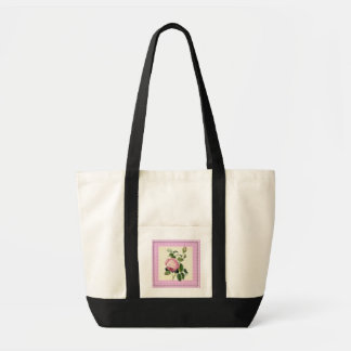 Old Fashioned Pink Rose Linen Gingham Decorative Tote Bag