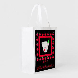 Old Fashioned Retro Drink Red Cherries on Black Reusable Grocery Bag