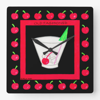 Old Fashioned Retro Drink Red Cherries on Black Square Wall Clock