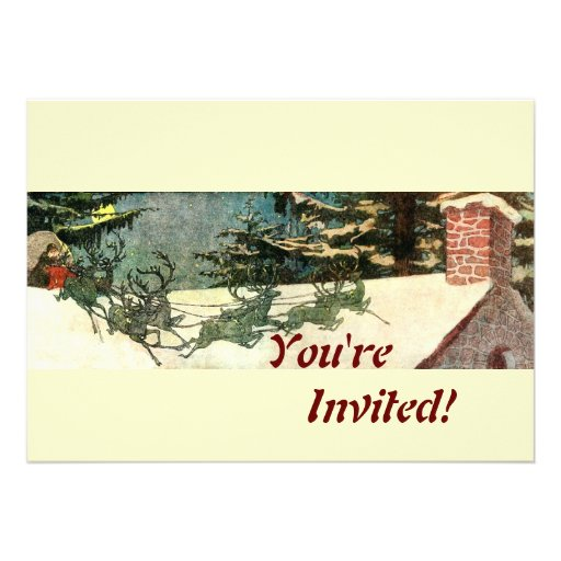 Old Fashioned Santa on Rooftop Personalized Invitation