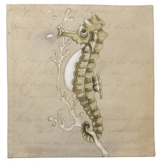 Old Fashioned Seahorse on Vintage Paper Background Napkin