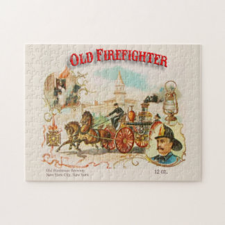 Old Firefighter Vintage Victorian Label Puzzle