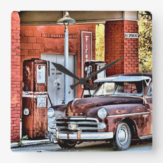 Old gas station square wall clock