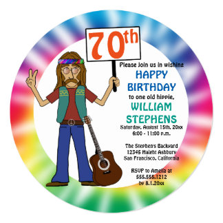Old Hippie Hippy Tie Dye 70th Birthday Party 13 Cm X 13 Cm Square Invitation Card
