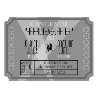 Old Hollywood Ticket Style Invitation Announcement