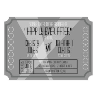 "Old Hollywood Ticket Style Invitation 5"" X 7"" Invitation Card"