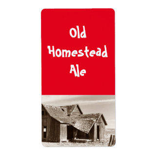 Old Homestead Ale Sepia Home brewing Beer Label Shipping Label
