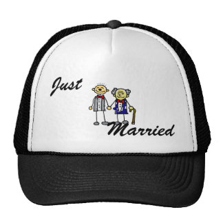 Old Interracial Gay Couple white asian Trucker Hats