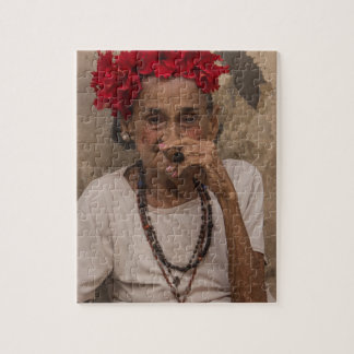 Old lady smoking cuban cigar in Havana Jigsaw Puzzle