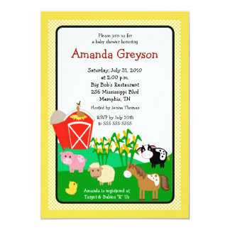 Old MacDonald Barnyard 5x7 Baby Shower Invitation